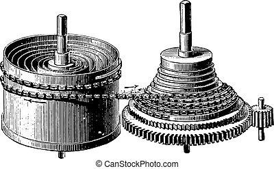 cohete, barril, cronómetro, engraving., vendimia, causa principal