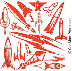 cohete, colección, rojo