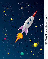 cohete, espacio, estilizado, vector, retro, barco