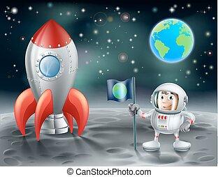 cohete, espacio, vendimia, luna, astronauta, caricatura