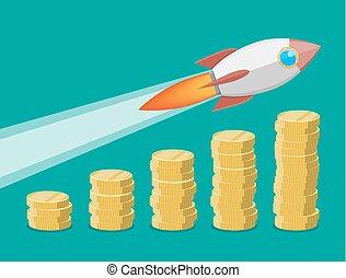 Cohete volando en el gráfico de crecimiento de monedas.