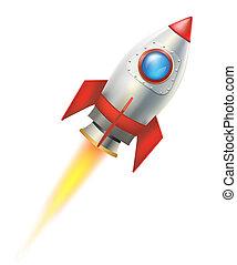 cohete, vuelo, blanco, ilustración, fondo., vector