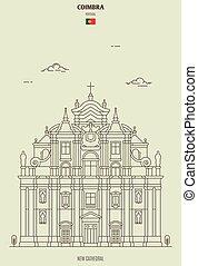 coimbra, nuevo, catedral, señal, portugal., icono