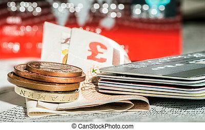 coins, libras, británico, tarjetas, credito, periódico