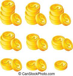 coins, pila, oro