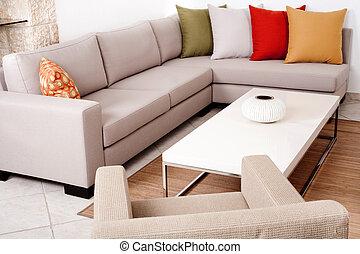 cojines, sofá, conjunto, coloreado