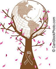 Colaboración global del cáncer de mama con concepto de árbol ilustración con hojas y símbolo de cinta. El archivo de vector EPS10 con transparencia organizada en capas para la edición fácil.