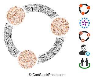 colaboración, icono, collage, arranque