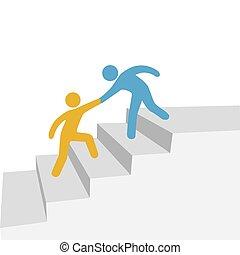 colaboración, progreso, amigo, ayuda