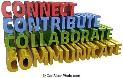 colaborar, comunicarse, conectar, contribuir
