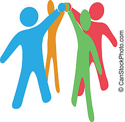 colaborar, ensamblar, gente, manos arriba, juntos, equipo