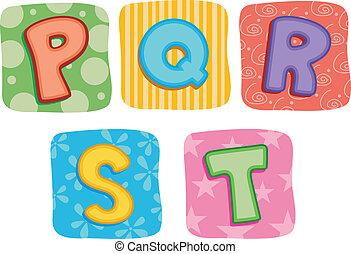 colcha, alfabeto, q, p, s, r, t, carta