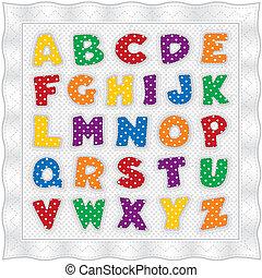Colcha de alfabeto, lunares, ingham
