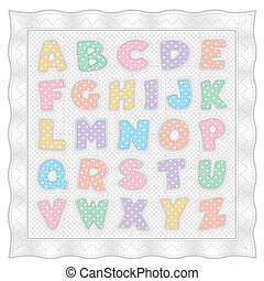 Colcha de alfabeto, lunares pastel