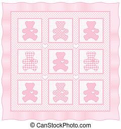 colcha, pastel, rosa, bebé, osito de peluche