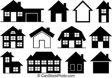 colección, casas, diferente