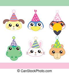 Colección de íconos animales de fiesta de dibujos animados