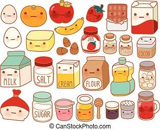 Colección de adorable icono ingrediente de pastel , huevo lindo , leche adorable , harina dulce , fresa kawaii , mantequilla femenina aislado en blanco en el estilo manga infantil