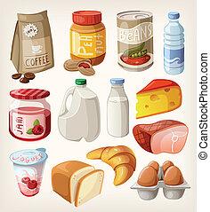 Colección de alimentos y productos