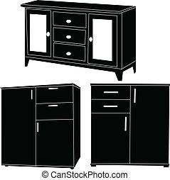 Colección de armarios, vector