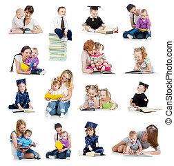 Colección de bebés o niños leyendo un libro. Concepto de la educación desde la infancia.