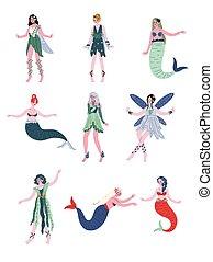 Colección de bellas hadas del bosque, ninfas, sirenas, ilustración vectorial
