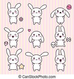 Colección de conejos graciosos y lindos y felices