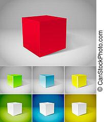Colección de cubos de color de yeso