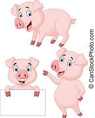 Colección de dibujos animados de cerdos