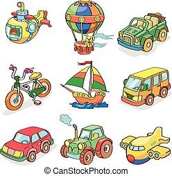 Colección de dibujos de transporte de color
