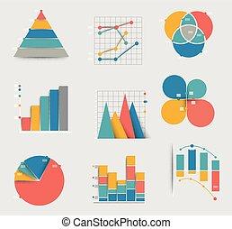 Colección de diferentes íconos diagramas