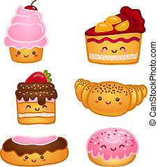 Colección de dulces pasteles