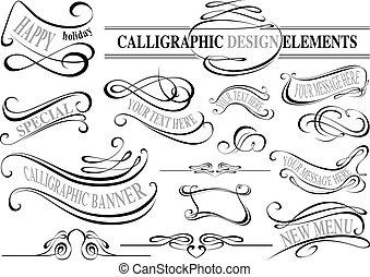 Colección de elementos caligráficos