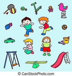 Colección de entretenimiento para niños de color Sketch