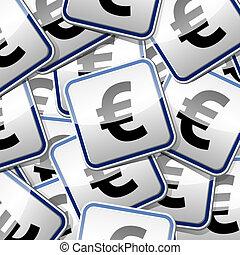 Colección de etiquetas de Euro-dinero