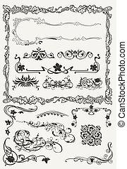 Colección de fronteras ornamentales y elementos de diseño antiguo