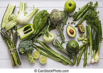 Colección de fruta verde y verduras