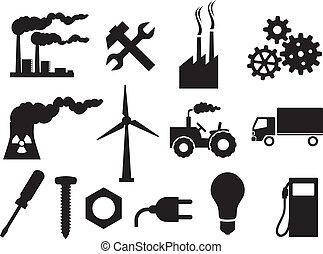 Colección de iconos de industria