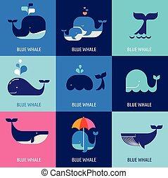 Colección de iconos de las ballenas vectoriales