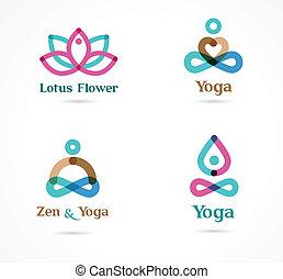 Colección de iconos de yoga, elementos y símbolos