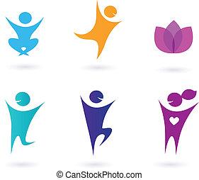 Colección de iconos de yoga humano