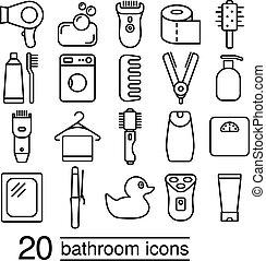 Colección de iconos del baño