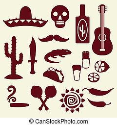 Colección de iconos mexicanos al estilo nativo.
