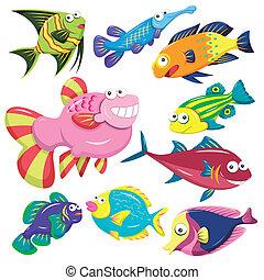 Colección de ilustraciones de animales marinos