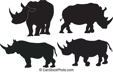 Colección de imágenes vectoras de rinoceronte