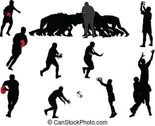 Colección de jugadores de rugby: vector