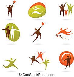 Colección de logos abstractos de personas - 16