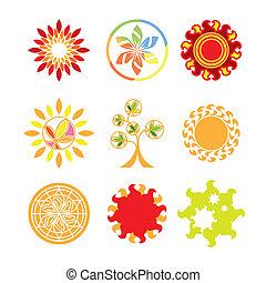 Colección de logos vectores en forma de sol