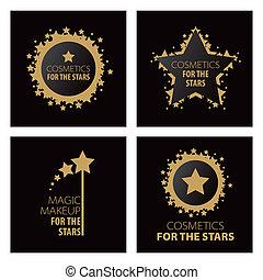 Colección de logos vectores maquillaje mágico para las estrellas