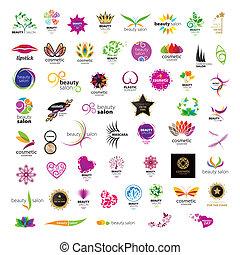 Colección de logos vectores para peluquerías de belleza de cosméticos